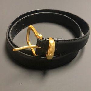 Vintage Calvin Klein Black Belt with Gold Buckle